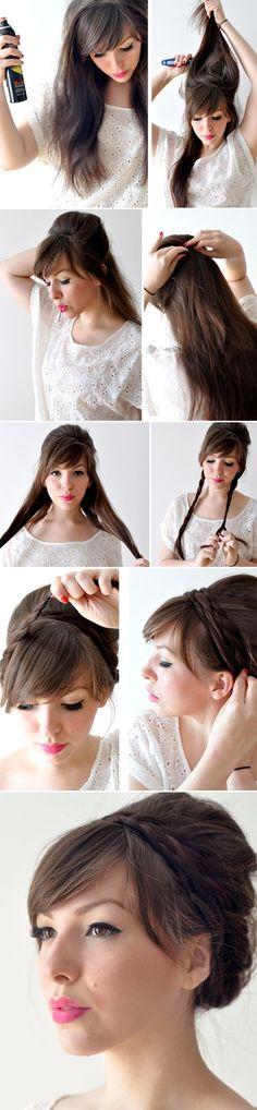 como hacer peinado flequillo trenzas