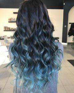 mechas balayage azules