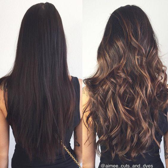 mechas mechas caramelo cabello largo