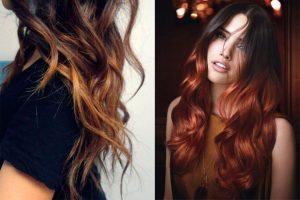 mechas cobrizas en cabello largo
