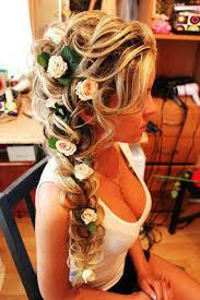 recogido trenza flores