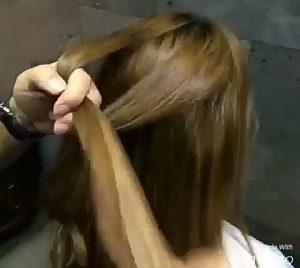 Recogidos para pelo largo con dos nudos paso 1