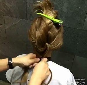 Recogidos para pelo largo con dos nudos paso 3