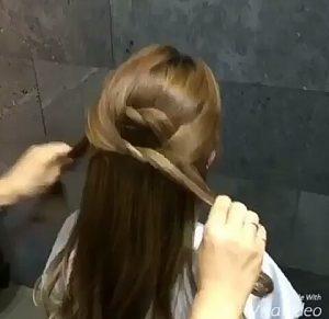 Recogidos para pelo largo con dos nudos paso 2