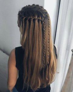 peinados con trenza pelo suelto