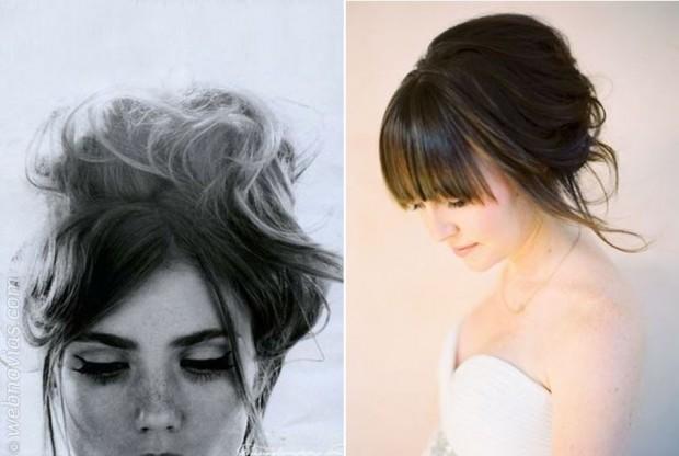 Peinados recogidos con flequillos