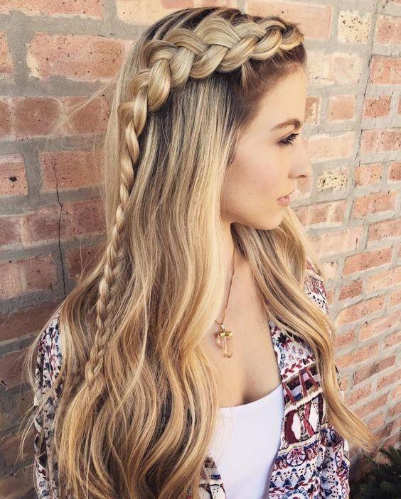 recogidos ondas cabello largo trenza lateral