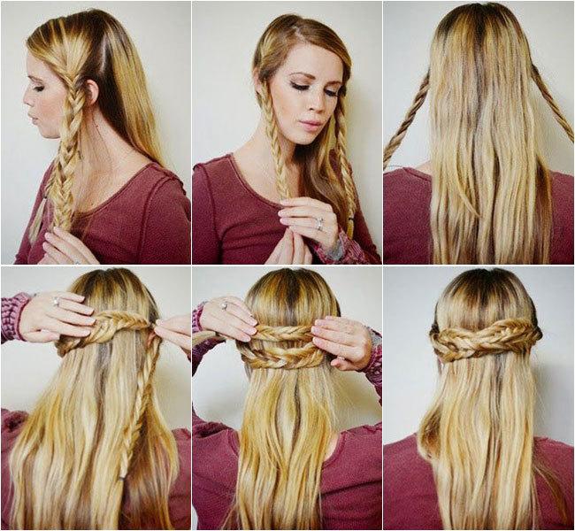 peinado con trenzas pelo largo mujer