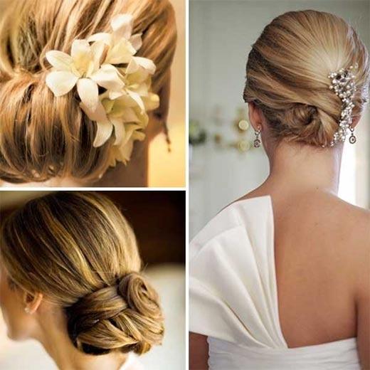 peinado recogido con flor para bodas mujer