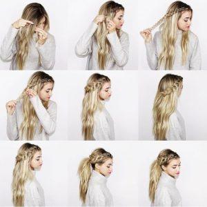 peinados pelo largo trenzas